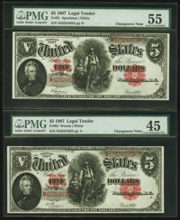 Fr. 91 and 92 $5 1907 Legal Tender Changeover Pair PMG Choice Extremely Fine 45 and About Uncirculated 55