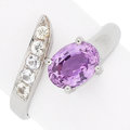 Estate Jewelry:Rings, Purplish-Pink Sapphire, Colorless Sapphire, White Gold By-PassRing. ...