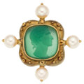 Estate Jewelry:Brooches - Pins, Hardstone Cameo, Cultured Pearl, Gold Brooch. ...