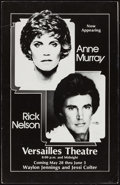 "Movie Posters:Rock and Roll, Anne Murray & Rick Nelson Concert at Versailles Theatre(Capitol, 1980). Window Card (17.75"" X 27.5""). Rock and Roll.. ..."