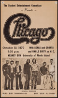 "Movie Posters:Rock and Roll, Chicago at the University of Rhode Island (Student EntertainmentCommittee, 1970). Concert Window Card (9.5"" X 15.75""). Rock..."