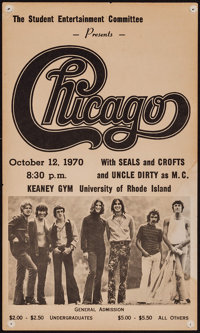 """Chicago at the University of Rhode Island (Student Entertainment Committee, 1970). Concert Window Card (9.5"""" X 15.7..."""