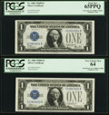Changeover Pair Fr. 1602/1604 $1 1928B/1928D Silver Certificates. PCGS Graded