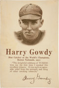 Baseball Collectibles:Others, 1914 Harry Gowdy Tuxedo Tobacco Store Advertising Sign....