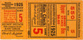 Baseball Collectibles:Tickets, 1925 World Series Game Five Ticket Stub. ...