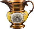 Political:3D & Other Display (pre-1896), Marquis de Lafayette: Copper Luster Pitcher....
