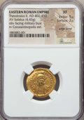 Ancients:Roman Imperial, Ancients: Theodosius II (AD 402-450). AV solidus (4.43 gm). NGC XF5/5 - 2/5, edge bend....
