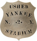 Baseball Collectibles:Others, 1940's New York Yankees Usher's Pinback Badge. ...