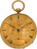Timepieces:Pocket (pre 1900) , Edouard Favre Brandt 18k Gold Key Wind, circa 1865. ...
