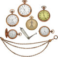 Timepieces:Pocket (post 1900), Six Pocket Watches, Chain & Pen Knife. ... (Total: 8 Items)