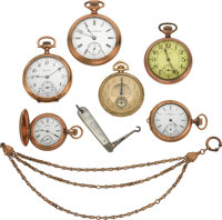 Six Pocket Watches, Chain & Pen Knife