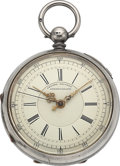 Timepieces:Pocket (pre 1900) , Swiss Silver Center Second Chronograph With Hack Feature, circa1860's. ...