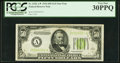 Fr. 2102-A* $50 1934 Light Green Seal Federal Reserve Note. PCGS Very Fine 30PPQ