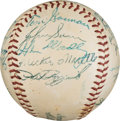 Baseball Collectibles:Balls, 1954 New York Yankees Team Signed Baseball from The Ralph Houk Collection. ...