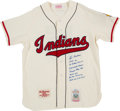 Baseball Collectibles:Uniforms, 1998 Lou Boudreau Signed & Heavily Notated Cleveland IndiansReplica Jersey. ...
