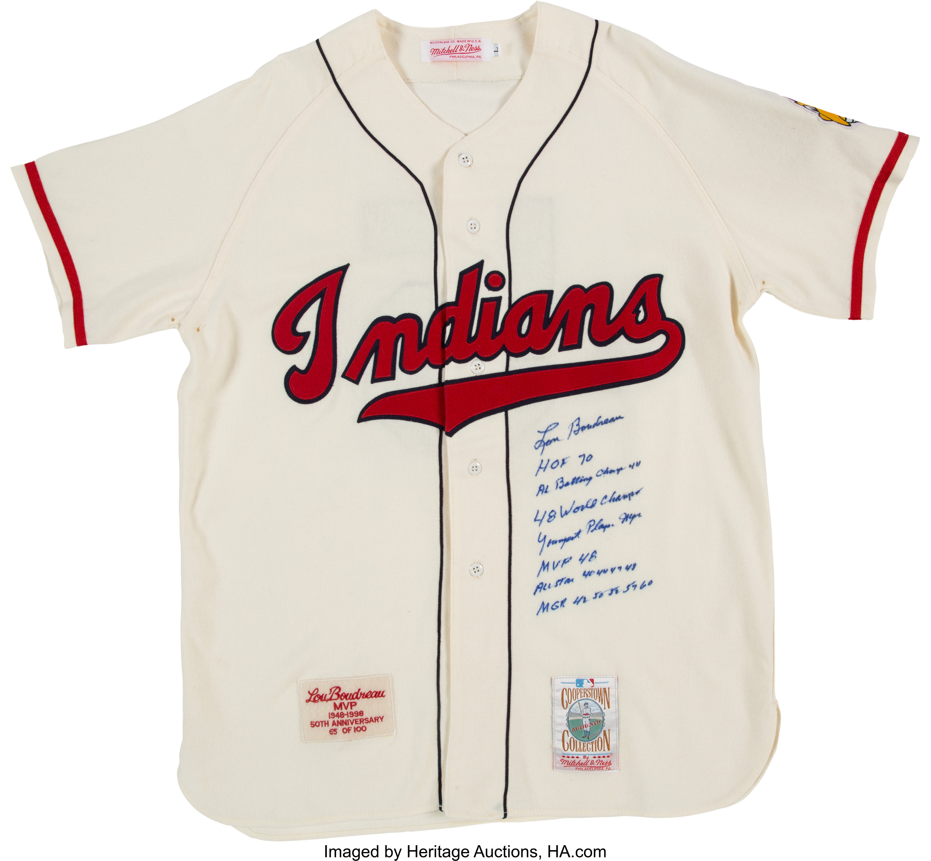 low priced 85d93 d39ff 1998 Lou Boudreau Signed & Heavily Notated Cleveland Indians ...