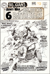 Joe Kubert Our Army At War #190 Cover Sgt. Rock Original Art, Silver Print Color Guide, and 2 Cover Press Proofs G... (T...