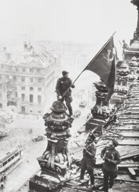Yevgeni Khaldei (Russian, 1917-1997) Raising the Red Fag over the Reichstag, 1945 Gelatin silver, pr