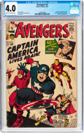 Silver Age (1956-1969):Superhero, The Avengers #4 (Marvel, 1964) CGC VG 4.0 Cream to off-white pages....