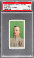 Baseball Cards:Singles (Pre-1930), 1909-11 T206 Sweet Caporal 350/30 Ty Cobb (Green Portrait) PSA NM7. ...