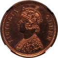 India:British India, India: British India. Victoria Proof Restrike 1/2 Pice 1875-(C) PR62 Red and Brown NGC,...