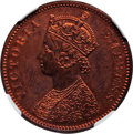 India:British India, India: British India. Victoria Proof 1/4 Anna 1890-(C) PR63 Red and Brown NGC,...