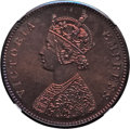 India:British India, India: British India. Victoria Prooflike Restrike 1/2 Anna 1891-(C) PL63 Red and Brown NGC,...