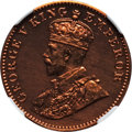 India:British India, India: British India. George V Proof Restrike 1/4 Anna 1925-(B) PR65 Red and Brown NGC,...