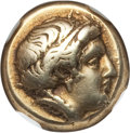 Ancients:Greek, Ancients: LESBOS. Mytilene. Ca. 412-378 BC. EL sixth stater orhecte (2.53 gm). NGC VF 5/5 - 4/5....