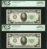 Changeover Pair Fr. 2054-E Mule/2055-E $20 1934/1934A Federal Reserve Notes. PCGS Very Choice New 64PPQ-Gem New 66PPQ