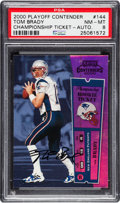 Football Cards:Singles (1970-Now), 2000 Playoff Contenders Championship Rookie Ticket-Autograph TomBrady #144 PSA NM-MT 8 - #016/100....