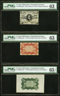Fractional Currency:Third Issue, Fr. 1236/8SP 5¢ Third Issue Set of Three PMG Graded.. ... (Total: 3 notes)