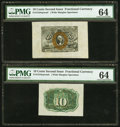 Fractional Currency:Second Issue, Fr. 1244SP 10¢ Second Issue Wide Margin Pair PMG Choice Uncirculated 64.. ... (Total: 2 notes)