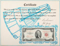 Explorers:Space Exploration, Gemini 3 (Molly Brown) Flown Crew-Signed Two Dollar Bill,with Crew-Signed Certificate of Authenticity....