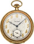 Timepieces:Pocket (post 1900), Waltham Heavy 14k Gold 19 Jewel Riverside, circa 1919. ...