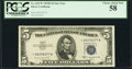 Small Size:Silver Certificates, Fr. 1657* $5 1953B Silver Certificate. PCGS Choice About New 58.. ...