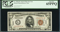 Small Size:World War II Emergency Notes, Fr. 2301* $5 1934 Mule Hawaii Federal Reserve Note. PCGS Gem New65PPQ.. ...