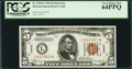 Small Size:World War II Emergency Notes, Fr. 2301* $5 1934 Hawaii Federal Reserve Note. PCGS Very Choice New64PPQ.. ...