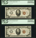Fr. 2304*/Fr. 2305* $20 1934 Mule/1934A Hawaii Federal Reserve Notes. Changeover Pair. PCGS Choice About New 55PPQ