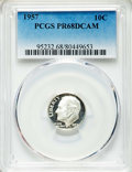 Proof Roosevelt Dimes, 1957 10C PR68 Deep Cameo PCGS. PCGS Population: (56/5). NGC Census:(44/22). ...