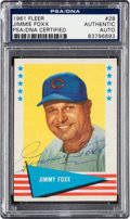 Autographs:Sports Cards, Signed 1961 Fleer Jimmy Foxx #28 PSA/DNA Authentic. ...