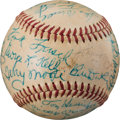 Baseball Collectibles:Balls, 1970-72 New York Yankees Old-Timers' Day Multi-Signed Baseball with Frankie Frisch. ...