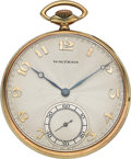 "Timepieces:Pocket (post 1900), Waltham 14k Gold 21 Jewel Maximus ""A"", circa 1915. ..."