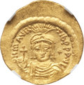 Ancients:Byzantine, Ancients: Maurice Tiberius (AD 582-602). AV lightweight solidus of23 siliquae (4.26 gm). NGC MS 5/5 - 4/5, clipped....