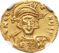 Ancients:Byzantine, Ancients: Constantine IV (AD 668-685). AV solidus. NGC Choice AU,clipped....