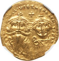 Ancients:Byzantine, Ancients: Heraclius (AD 610-641), with Heraclius Constantine (AD613-641). AV solidus. NGC Choice AU, clipped....
