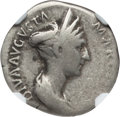 Ancients:Roman Imperial, Ancients: Diva Marciana, sister of Trajan (died AD 112). ARdenarius (3.20 gm). NGC VG 4/5 - 4/5. ...