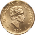 Colombia, Colombia: Republic gold 5 Pesos 1929 MS67 NGC,...