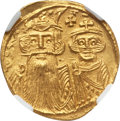 Ancients:Byzantine, Ancients: Constans II (AD 641-668), with Constantine IV. AV solidus(4.51 gm). NGC MS 4/5 - 3/5....