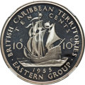 "British East Caribbean Territories, British East Caribbean Territories: Elizabeth II silver Proof Model ""Maritime"" 10 Cents 1955 (1991) PR67 Ultra Cameo NGC,..."